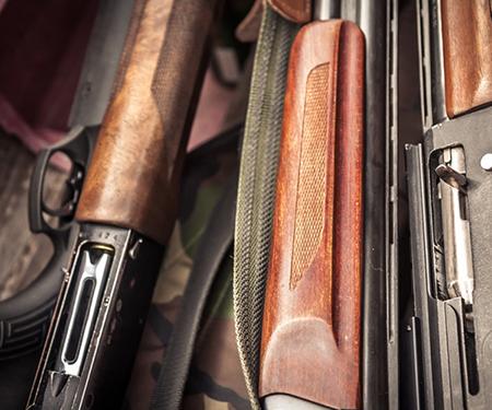 several guns on a table